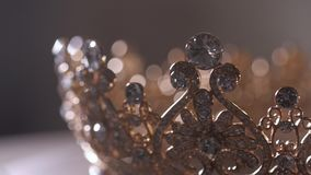 An up close image of a wedding crown in luxury Jewelry shop stock video