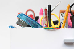 Up Close & Personal with the Stationery Drawer. Straight on view of the colourful contents of the stationery drawer with copy space royalty free stock photos