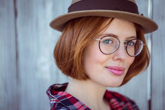 up close portrait of a smiling hipster woman Royalty Free Stock Image