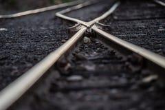 Criss crossed railroad tracks royalty free stock photos