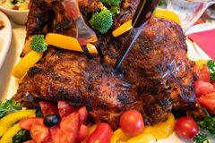 Thanksgiving turkey with a fork and knife royalty free stock image