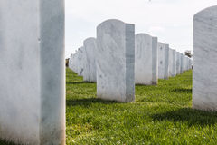 Up-Close View of National Cemetery Headstones in San Diego Stock Image