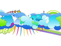 Up in the Clouds. Beautiful clouds raster graphics illustration Stock Image