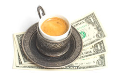 Сup of coffee with 3 dollars tip Royalty Free Stock Photography