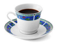 Up of coffee in a colorful plate isolated on white Stock Photography
