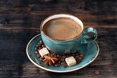 Сup of coffee espresso, sugar and spices Royalty Free Stock Images