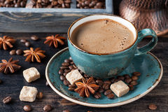 Сup of coffee espresso, sugar and spices Royalty Free Stock Photography