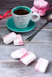 Сup of coffee, a jar of jam and marshmallows Royalty Free Stock Image