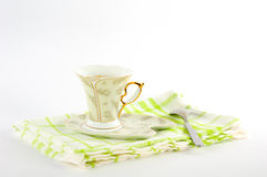 Сup of coffee on a platter. A cup of coffee on a platter Royalty Free Stock Photography