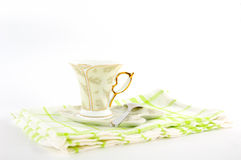 Сup of coffee on a platter. A cup of coffee on a platter Royalty Free Stock Images