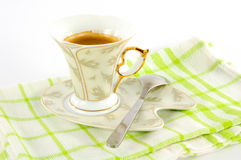 Сup of coffee on a platter Royalty Free Stock Images