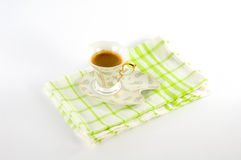 Ð¡up of coffee on a platter stock photography