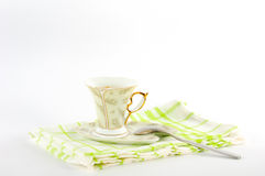 Сup of coffee on a platter. A cup of coffee on a platter Royalty Free Stock Photos
