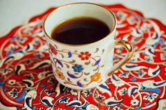 Сup of coffee on a tray painted in Middle East Stock Photo