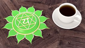Сup of coffee on a wooden table. Morning Chakra Meditation. Anahata symbol 3d illustration