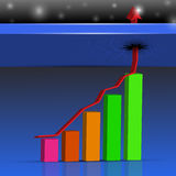 Up colored bar chart , 3D rendering. Up colored bar chart , 3D Stock Photos