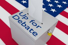 Up for Debate concept. 3D illustration of Up for Debate script on a ballot box, with US flag as a background Royalty Free Stock Photography