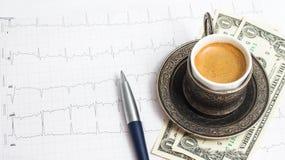 ?up des Kaffees mit 3 Dollar Spitze Lizenzfreies Stockbild