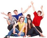 up det lyckliga folket för grupphand barn Arkivfoton