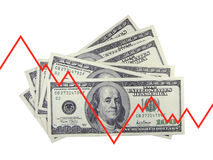 Up and down. Line and dollars on a white background Royalty Free Stock Image