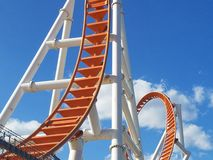 Up and down and around we go against the sky Coney Island loop royalty free stock photo