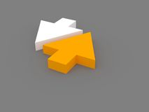 Up and down arrows. 3d rendering of two white and orange arrows showing different directions. Business concept Royalty Free Stock Photos