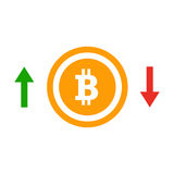 Up and down arrows bitcoin course flat icon. Concept of simple bitcoin badge  Royalty Free Stock Photography