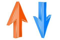 UP and DOWN arrows. 3d orange and blue shiny signs. Vector illustration isolated on white background vector illustration