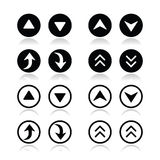 Up and down arrows round icons set Stock Image