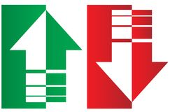 Up and down arrows. Upward, downward arrows in green and red from thin to thick and divided into two parts isolated on white background, set of two. Flat style royalty free illustration