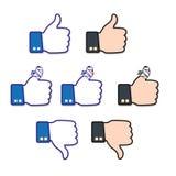 Up, down and bandaged finger,. Like icon. One of set web icons Royalty Free Stock Photos
