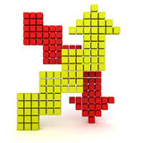 Up and Down Block Red Green Arrows on white background. 3d render illustration Royalty Free Stock Images