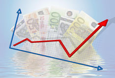 Up and down economy. An illustration with Euros and an up and down economy Royalty Free Stock Image