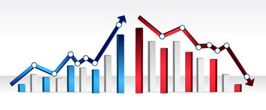 Up and down financial chart Stock Images