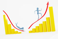 Up and down going men. On the golden diagram Stock Photo
