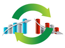 Up and down graph cycle illustration design Stock Photos