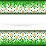Up and down grass stripe frame with easter egg pattern  Stock Image