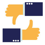 Up and down hands vector - thumbs up - like and dislike icon Stock Photo