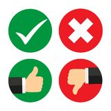 Up and down index finger with check mark and cross. Confirm and reject icon set. Yes or No validation button collection. Thumbs up and down mark in flat style Stock Photography