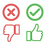 Up and down index finger with check mark and cross. Vector Royalty Free Stock Images