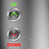 Up and Down metalic button Stock Image