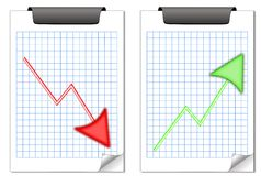 Up and down notes. Two squared note pads with opposite trends Stock Photo