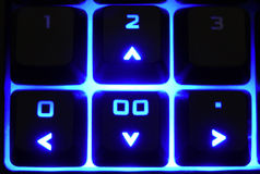 Up Down Right Left. Numeric keyboard close-up of the arrow keys. Up, down, left right. Shows direction, which way to go Royalty Free Stock Images