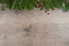 Up frame with fir branches and winter cone Stock Images