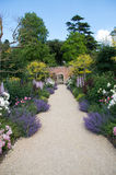 Up the Garden Path. English country garden path with rich flowering borders royalty free stock images