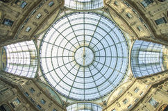 UP. The glass roof of Galleria Vittorio Emanuele II Stock Photography