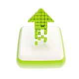 Up green arrow symbol icon over square button Stock Photos