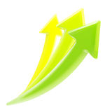 Up and growth: three growing arrows isolated. Up and growth: set of three yellow, green glossy growing arrows isolated on white stock illustration
