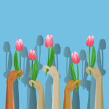 Up hands icon with flowers. Vector illustration stock illustration