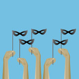 Up hands icon with masks. Stock Photography
